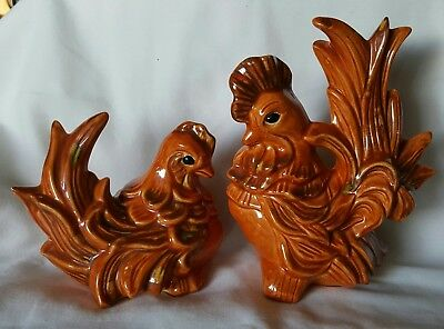 Beautiful Vintage Ceramic Rooster & Hen Couple