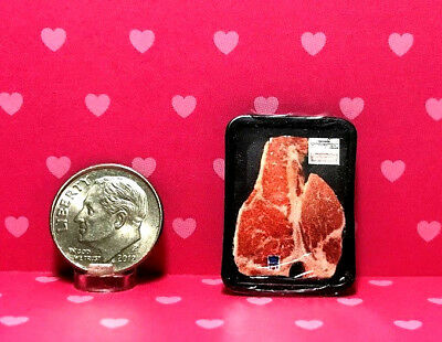 "Dollhouse Miniature Meat - Packaged ""Steak"" in Plastic Tray 1:12"
