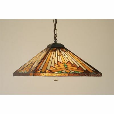 Meyda Tiffany 66229 Stained Glass Tiffany Down Lighting Pendant, Mission Series