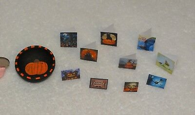 Dollhouse Miniature Hand painted Wood Bowl of 10 Halloween cards-OOAK--Artist