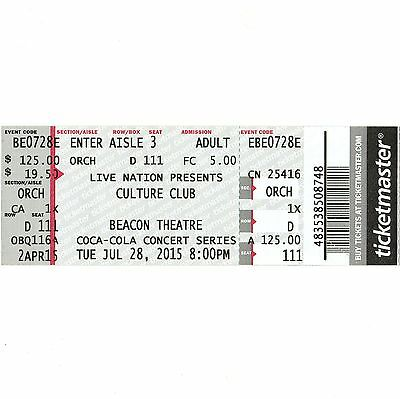 CULTURE CLUB Concert Ticket Stub BEACON 6/28/15 NEW YORK CITY KARMA CHAMELEON