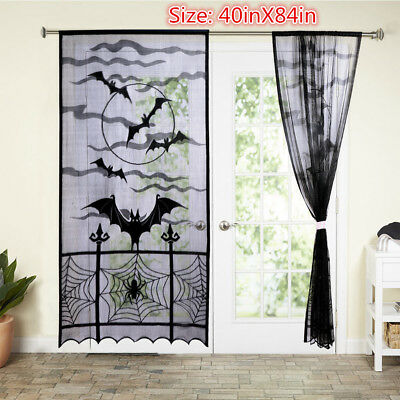 NEW Halloween Haunted House Gothic Black Lace Spider Web Bat Curtains Door Panel