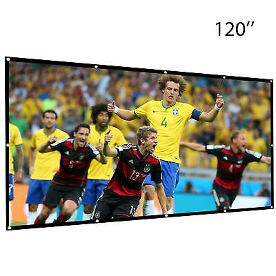 """120"""" Inch 16:9 Manual Projection Screen Projector Home Movie Matte White USA"""