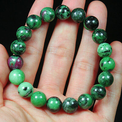 181.3Ct 100% Natural Red Green Bi Color Ruby In Zoisite Beads Bracelet BRG343