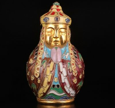 Antique Chinese Enamel Cloisonne Statue Figurine Old Hand Carved Tang Xuanzang