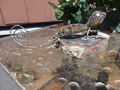 Colorful Artisan Glass Beads and Wire Reptilian Gecko Lizard