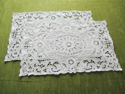 """PR. HAND EMBROIDERED TRAY CLOTHS - 10"""" x 15.5"""" - white"""