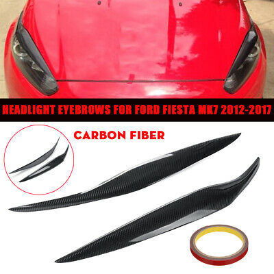 Car Front Headlight Facelift Eyebrows Eyelids Carbon Fiber For Ford Fiesta MK7.5