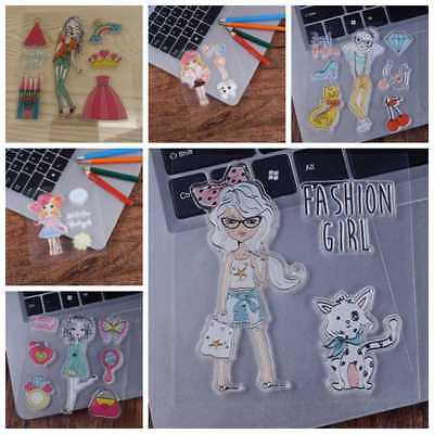 Fashion Girl Silicone Clear Stamp Transparent Rubber Stamps DIY Scrapbooking