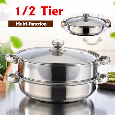 1/2 Tier Stainless Steel Food Steamer Pot Induction Cooker Cookware Glass Lid