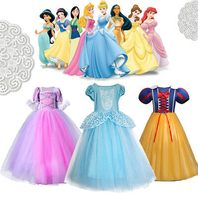 Kids Girls Princess Dress Up Costume Fairytale Belle Cinderella Aurora Rapunzel