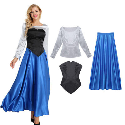 Womens Adults Princess Queen Costume Cosplay Party Fancy Dress Long Sleeve Skirt