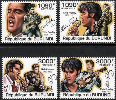 ELVIS PRESLEY Tribute Singer/Guitar/Rock & Roll Music Stamp Set (2011 Burundi)