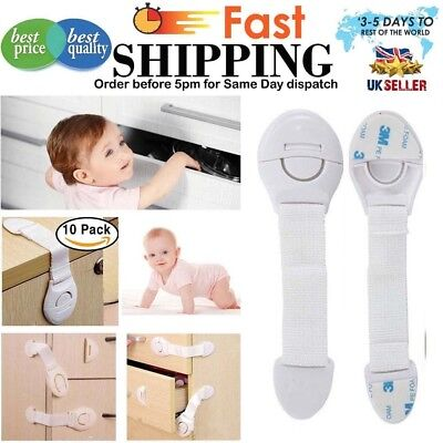 10x Baby Child Pet Proof Safety Latches Cupboard Cabinets Door Strap Locks Catch