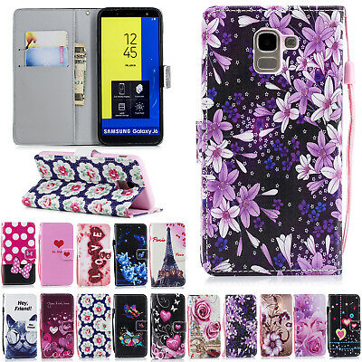 Protective Phone Leather Print Flip Case Wallet Cover for Samsung Galaxy J6 2018