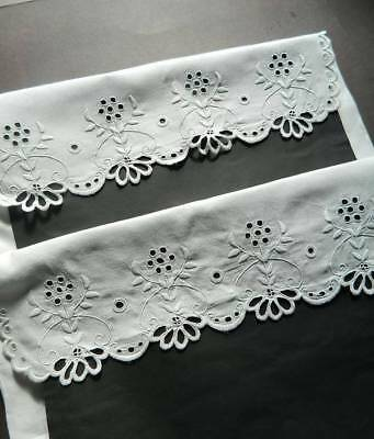Pair antique white  Irish linen pillowcases with hand embroidery & scallop hems.