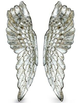 Extra Large Pair of Antique Silver Wall Angel Wings Art Picture Mounted French