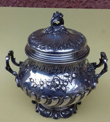 1888-1910 Intricate Solid Silver French Sugar Bowl By Rudolphe Beunke 179 Grms