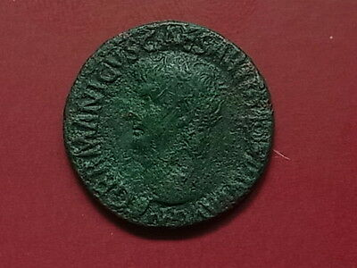 Roman. GERMANICUS Copper AS.. Bust to left. Rev-Legend around large S C.  Fine+