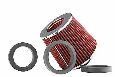 """89mm INLET HIGH POWER CONE AIR FILTER RED FIT 2.5""""/2.75""""/3"""" PIPES"""