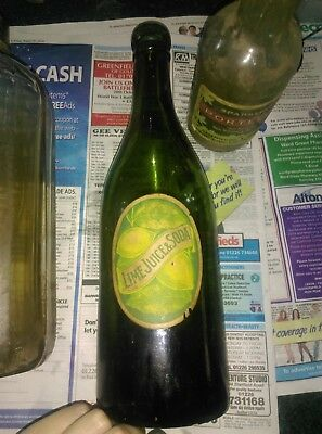 lime juice and soda glass bottle