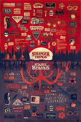 Stranger Things - Tv Show Poster / Print (The Upside Down - Infographic)