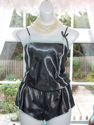 Shiny Liquid Satin Cami Top Tap Pantie Romper French Knickers Uk 12 [T76