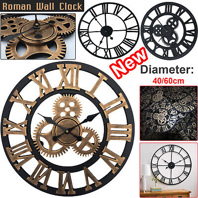 Traditional Vintage Style Iron Wall Clock Roman Numerals Home Decor Gift Round