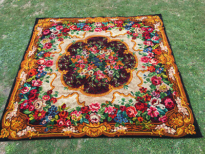 RARE AXMINSTER CIRCA 1890-1930 ANTIQUE ENGLISH FLORAL WOOL RUG 69x69 INCHES