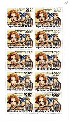 MARLENE DIETRICH The Knight Without Armour/Film Actress Stamp Sheet/2011 Burundi
