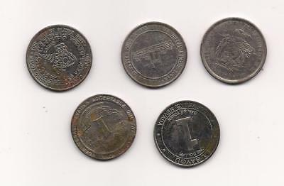 Lot Of 5  $1 Vintage Las Vegas Silver Coin Casino Chips From Different Casinos