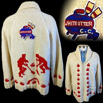 Vintage 1960s Curling Sweater White Otter Curling Club Hand Knit Shawl Collar 44