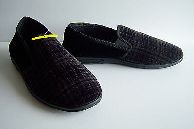 Mens Black Slippers - Size 13- Check Two Tone by The Slipper Company