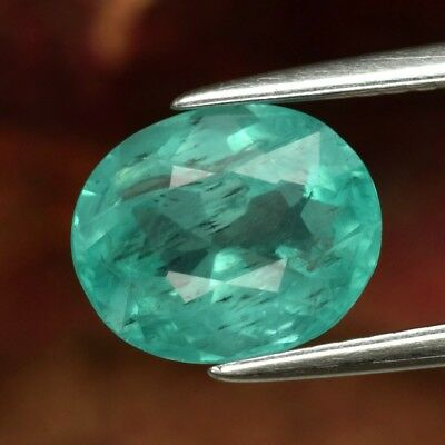 2.28ct 9x7.4mm Oval Natural Unheated Paraiba-Color Neon Blue Apatite