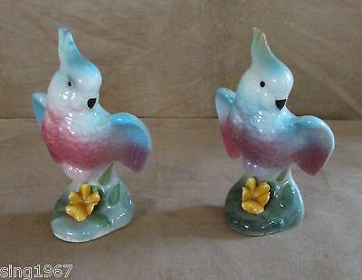 Parakeet Pair 2 Figurines porcelain bird Mid Century pastel colors Vintage