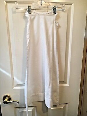 "vintage white baby long cotton slip lace trimmed 29"" long dress"