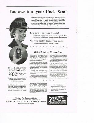 ZENITH RADIO 'Owe It To Uncle Sam' 1944 Ad