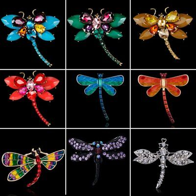 Charm Insect Animal Dragonfly Pearl Crystal Women Breastpin Brooch Pin Jewelry