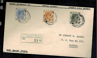 1938 Hong Kong First Day Cover to Canton China King George 6 FDC KGVI