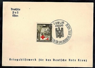 1940 Lublin Poland Germany GG Souvenir Postcard cover War Relief for Red Cross