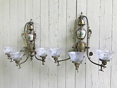 Pair Of Antique Brass Wall Gas Sconces Longwy? Porcelain Insert Glass Shades