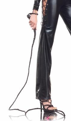 Faux Leather Long Whip Braided Cat Woman Indiana Jones Lion Tamer Costume BW229