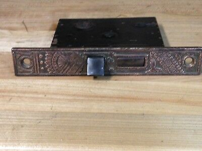 Antique Vintage Brass Eastlake Fancy Door Mortise Lock Part