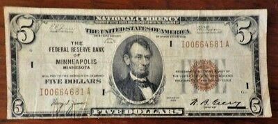 $5 Federal Reserve Note, Federal Reserve Bank of Minneapolis, Mn., Series 1929