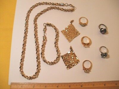 Jewelry Lot Necklace, Bracelet, Earrings, and 5 rings