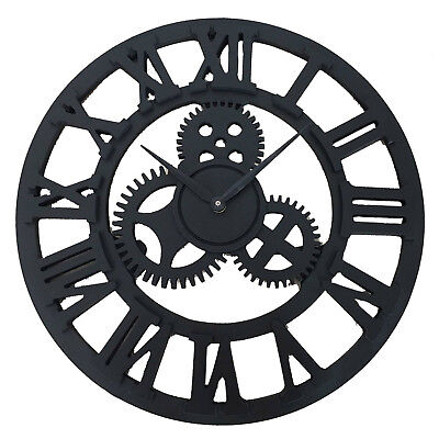 Traditional Vintage Style MDF Wall Clock Roman Numerals Home Decor Skeleton 60CM