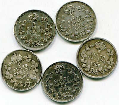 Canada 5 cents silver lot of (5) Edwardian     lotsep3004