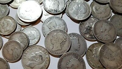 Huge Lot of 109 Old Rare Canadian & Newfoundland Silver Coins