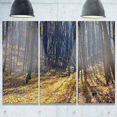 Designart - Thick Autumn Forest Woods - Oversized Forest Glossy Metal Wall Art