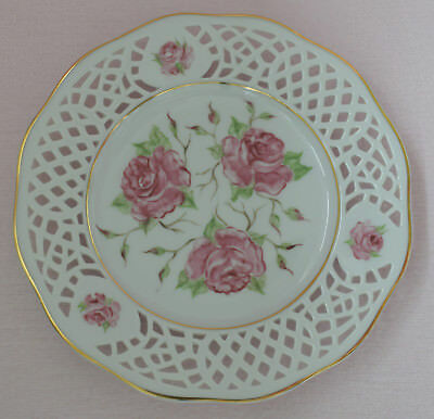 Hand Painted By Bmb Bernice Best Decorative White Pierced Plate Pink Roses